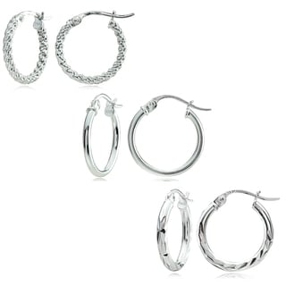 Mondevio Sterling Silver 3-style 15 mm Hoop Earrings Set
