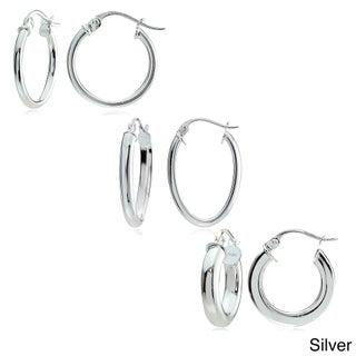 Mondevio Sterling Silver 3-style High Polished Hoop Earrings (Set of 3)