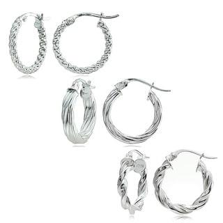 Mondevio Sterling Silver 3-style 15 mm Twist Hoop Earrings Set