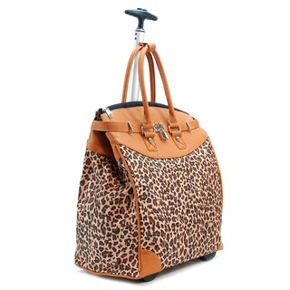 Rollies Classic Leopard Canvas, Synthetic Leather, and Aluminum 18-inch x 18-inch x 9-inch Rolling Foldable Luggage Bag