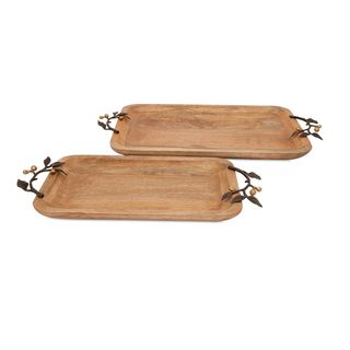 Victoria Trays with Brass Handles - Set of 2