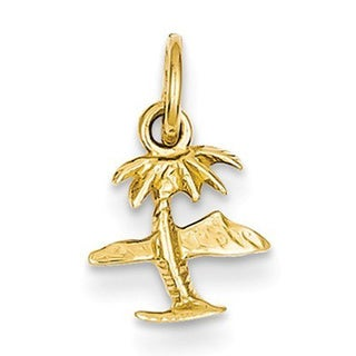 14k Yellow Gold Island and Palm Tree Charm