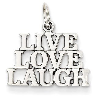 14k Yellow or White Gold Polished Live Love Laugh Charm
