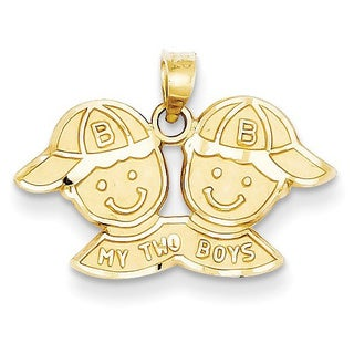 14k Yellow Gold Solid Satin My Two Boys Charm