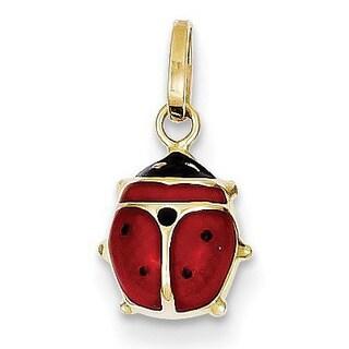 14k Yellow Gold Enameled Ladybug Charm