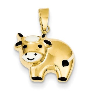 14k Yellow Gold Enameled Cow Charm