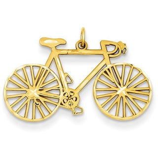 14k Yellow Gold Polished Bicycle Charm