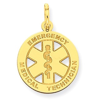 14k Yellow Gold Small EMT Medical Charm