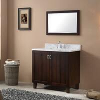 Carrara Brown-finished Wood White Marble Top 36-inch Single Sink Bathroom Vanity