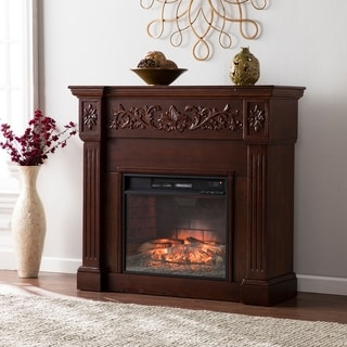 Harper Blvd Cameron Espresso Carved Infrared Electric Fireplace