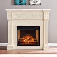 Gracewood Hollow Cooklynn Ivory Carved Infrared Electric Fireplace
