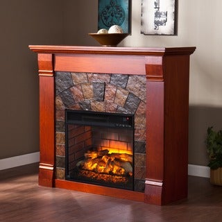 Harper Blvd Elmore Mahogany Faux Stone Infrared Electric Fireplace