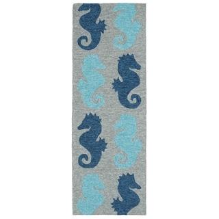 Indoor/ Outdoor Beachcomber Seahorse Blue Rug (2' x 6')