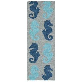Indoor/ Outdoor Beachcomber Seahorse Blue Rug - 2' x 6'