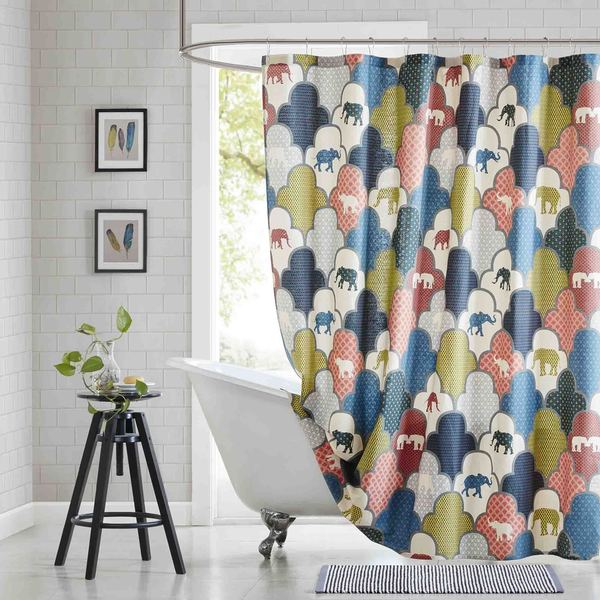 HipStyle Padma Multi Cotton Printed Shower Curtain