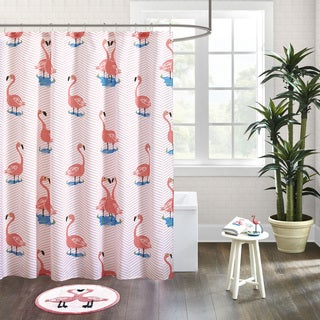 HipStyle Rosie Pink Cotton Printed Shower Curtain