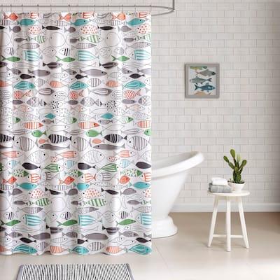 HipStyle Madfish Cotton Shower Curtain