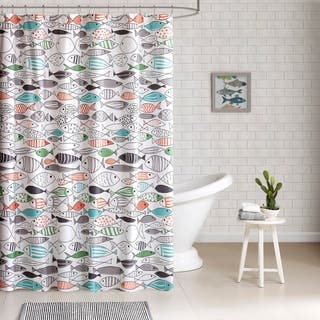 HipStyle Madfish Cotton Printed Shower Curtain|https://ak1.ostkcdn.com/images/products/11816022/P18722720.jpg?impolicy=medium