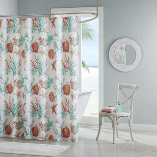 Captivating Madison Park Pacific Grove Coral Cotton Printed Shower Curtain