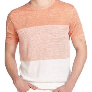 Z Zegna Men's Orange and White Striped Sweater