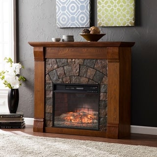 Harper Blvd Elmore Salem Antique Oak Faux Stone Infrared Fireplace