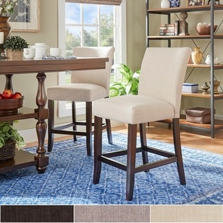 TRIBECCA HOME Parson Classic Gray Linen Counter Height Chairs (Set Of 2) (As