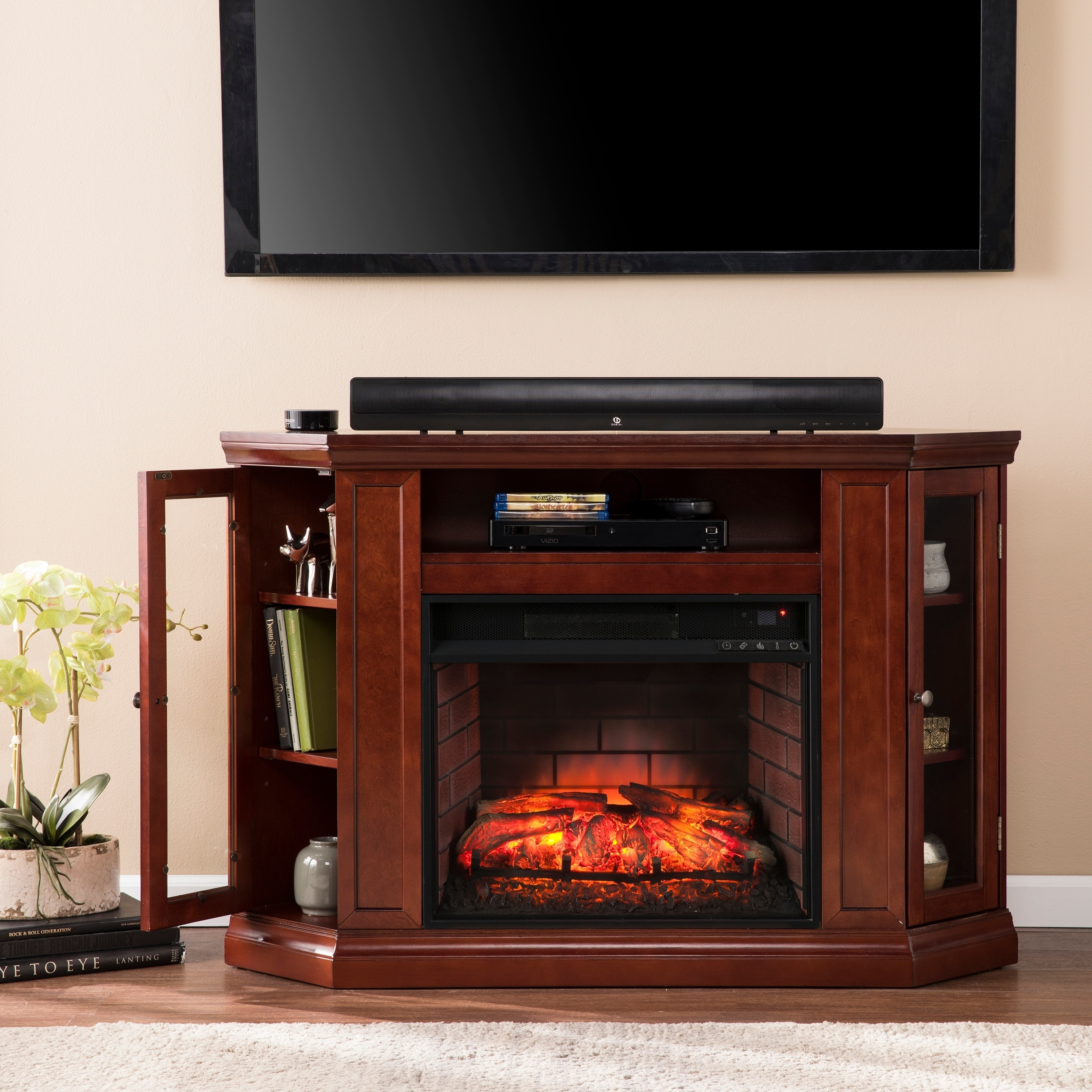 Copper Grove Shelburne Cherry Convertible Media Infrared Fireplace (OS0139IF)