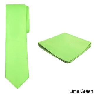 Jacob Alexander Men's Solid-Colored Tie and Hanky Set