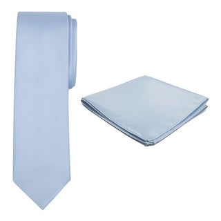 Jacob Alexander Men's Solid-Colored Tie and Hanky Set