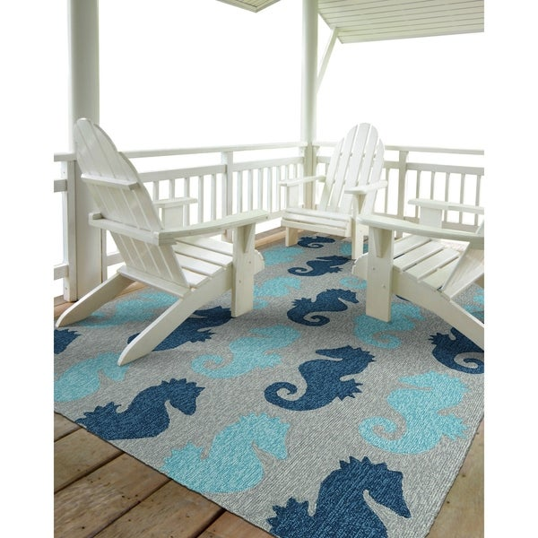 Indoor/ Outdoor Beachcomber Seahorse Blue Rug - 9' x 12'