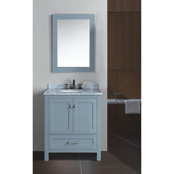 Zenith bathroom 30 inch solid wood with double layer marble vanity with undermount ceramic sink for Solid wood double sink bathroom vanity