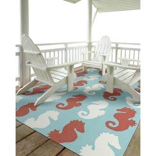 Indoor/Outdoor Beachcomber Seahorse Multi Rug (2' x 3')