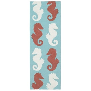Indoor/Outdoor Beachcomber Seahorse Multi Rug (2' x 6')