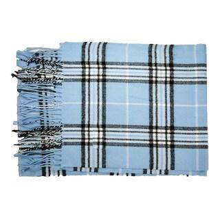 Cashmere-feel Blue New England Plaid Acrylic/Nylon 12-inch x 72-inch Scarf