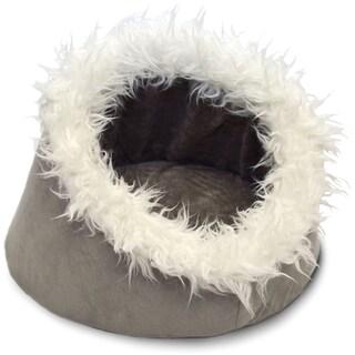 Furhaven NAP Fur-trimmed Dome Cave Cat Bed