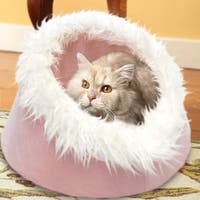 Furhaven NAP Fur-trimmed Dome Cave Cat Bed