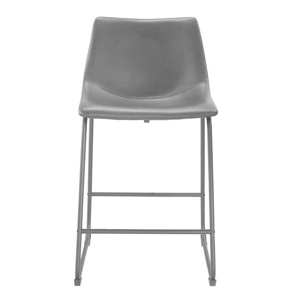 24-inch Seat Height Black Faux Leather Counter Stools (Set of 2) - Free Shipping Today - Overstock.com - 18722798  sc 1 st  Overstock.com & 24-inch Seat Height Black Faux Leather Counter Stools (Set of 2 ... islam-shia.org