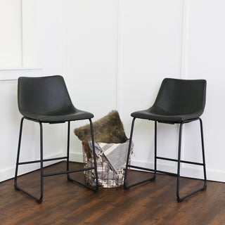 Black Faux Leather Counter Stools - Set of 2
