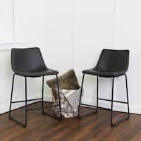 Strick & Bolton Wynton 24-inch Black Faux Leather Counter Stool Set