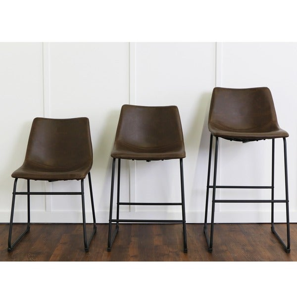 24-inch Seat-height Brown Faux Leather Counter Stools (Set of 2) - Free Shipping Today - Overstock.com - 18722797  sc 1 st  Overstock.com & 24-inch Seat-height Brown Faux Leather Counter Stools (Set of 2 ... islam-shia.org