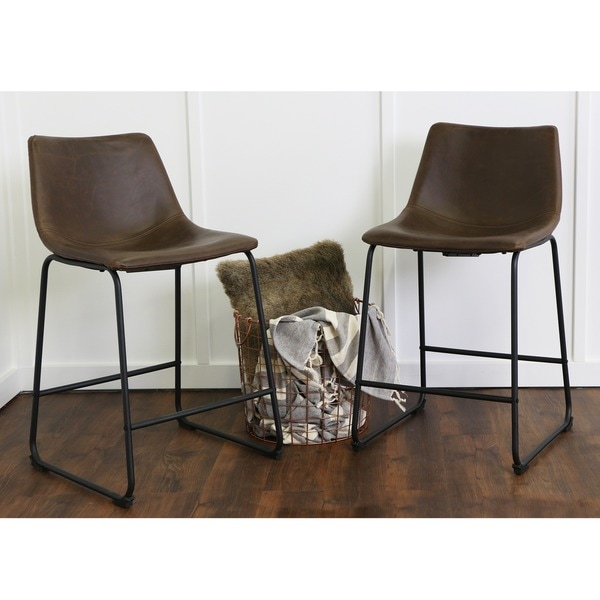 Brown Faux Leather Counter Stools Set Of 2 Free