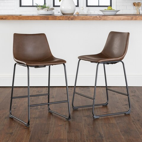 24-inch Industrial Faux Leather Counter Stools - N/A