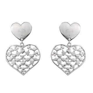 Silver Color Heart Earrings