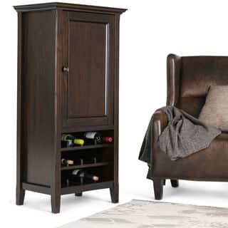 WYNDENHALL Halifax 12-Bottle Solid Wood 24 inch Wide Transitional High Storage Wine Rack Cabinet in Dark Brown