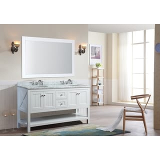 Ari Kitchen and Bath Emily White 60-inch Double Bathroom Vanity Set With Mirror