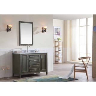 Ari Kitchen and Bath Jude Grey Wood/Marble 48-Inch Single Bathroom Vanity Set