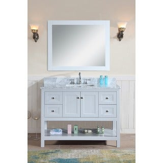 Ari Kitchen and Bath Emily White 48-inch Single Vanity Bathroom Set With Mirror