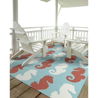 Indoor/Outdoor Beachcomber Seahorse Multi Rug (7'6 x 9')