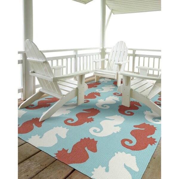 Indoor/Outdoor Beachcomber Seahorse Multi Rug - 9' x 12'