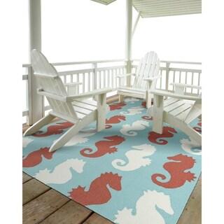 Indoor/Outdoor Beachcomber Seahorse Multi Rug (9' x 12')